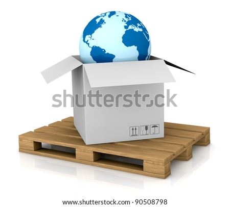 one world globe coming out of a carton box; concept of shipping everywhere (3d render) - stock photo