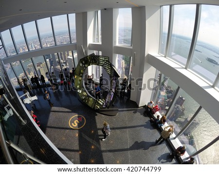 ONE WORLD OBSERVATORY, LOWER MANHATTAN - JUNE 3, 2015: Opened in May 2015, the observatory is located on floor 100-102 and become for New York City's newest world-class tourists destination. USA. - stock photo