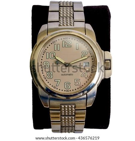 One wristwatch closeup isolated - stock photo