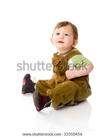 One year Baby boy sitting isolated on white - stock photo