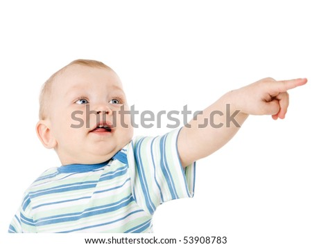 One year Boy Pointing looking aside isolated on white - stock photo