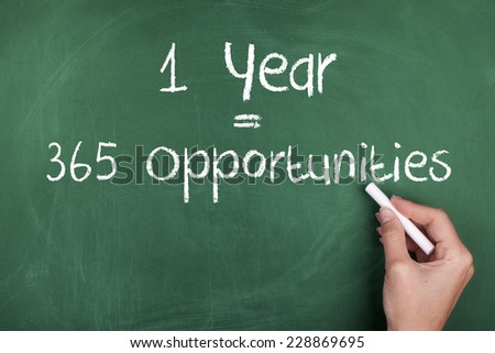 One Year Equals 365 Opportunities / Inspirational Motivational Business Quote Background - stock photo