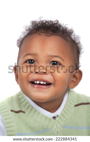One Year Old Adorable African American Boy Portrait Isolated  on White Background - stock photo
