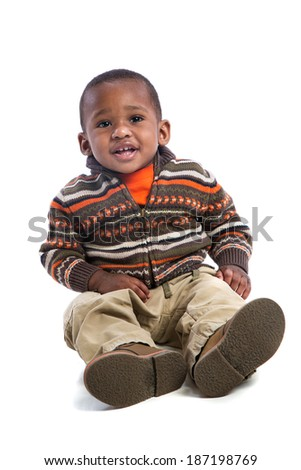 One Year Old Adorable African American Boy Sitting Portrait on Isolated White Background - stock photo