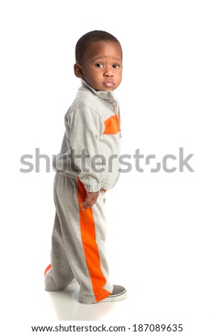 One Year Old Adorable African American Boy Standing Portrait on Isolated White Background - stock photo