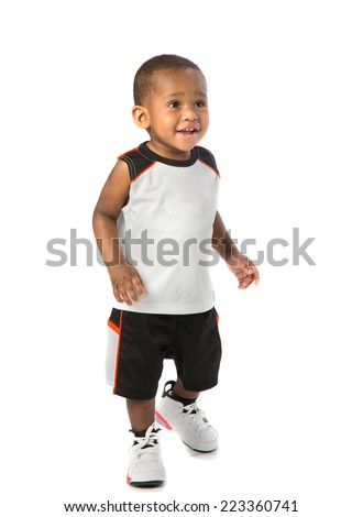One Year Old Adorable African American Boy Standing Portrait Wearing Sports Wear on Isolated White Background - stock photo