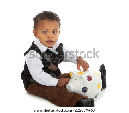 One Year Old African American Baby Boy Playing Piggy Bank Isolated - stock photo