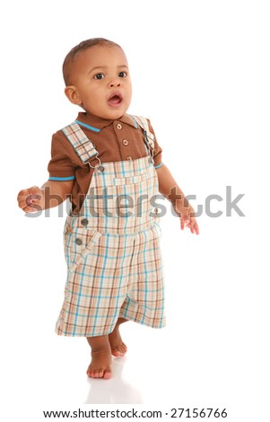 One Year Old Baby Boy Standing Talking on White Background - stock photo