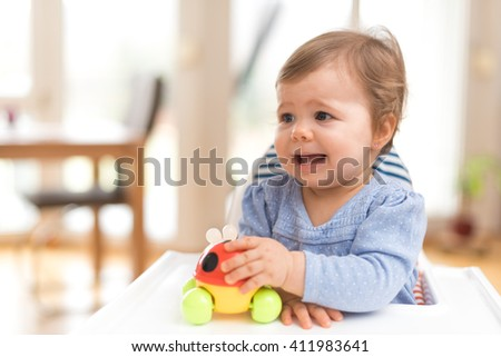 One Year Old Baby Girl Feels Despair - stock photo