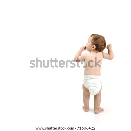 One year old baby walking isolated with large copy-space - stock photo