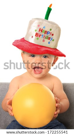 One year old birthday baby boy - stock photo
