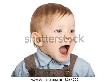 One-year old blue eyed  boy - stock photo