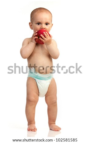 One-year old boy with red apple isolated over white - stock photo
