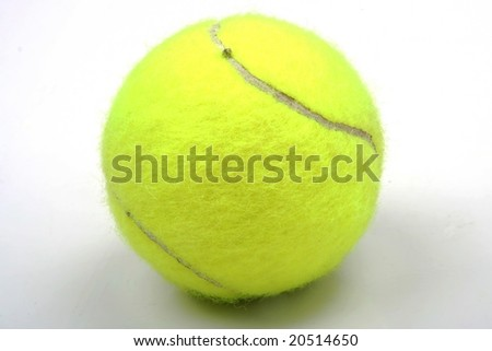 One yellow tennis ball on white background - stock photo