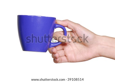 One youg female hand holding a blue cup.