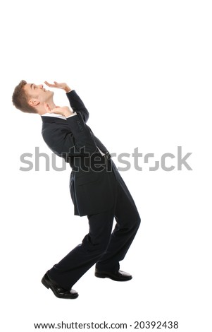 One young businessman in trouble - stock photo