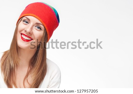 One young cheerful woman isolated on a white background - stock photo