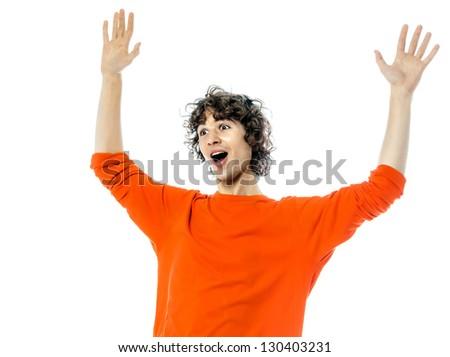 one young man caucasian gesturing surprised happy joy portrait  in studio white background - stock photo
