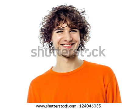 one young man caucasian handsome smiling portrait  in studio white background