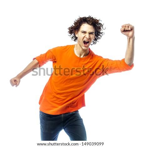 one young man caucasian  screamming happy portrait  in studio white background - stock photo