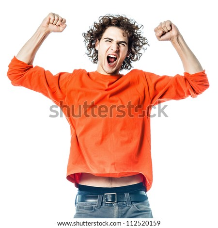 one young man caucasian strong screaming happy  portrait  in studio white background