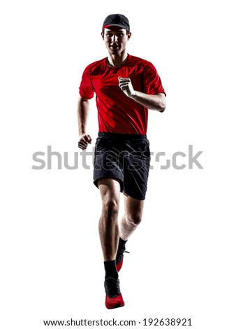 one young man runners joggers running jogging jumping in silhouettes isolated on white background - stock photo