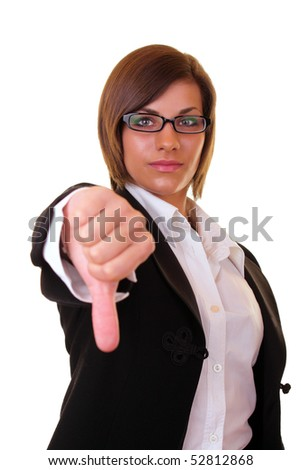 one young  serious businesswoman  holding thumbs down