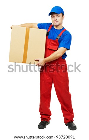 One young smiling delivery man courier with parcel cardboard box and clipboard isolated on white - stock photo