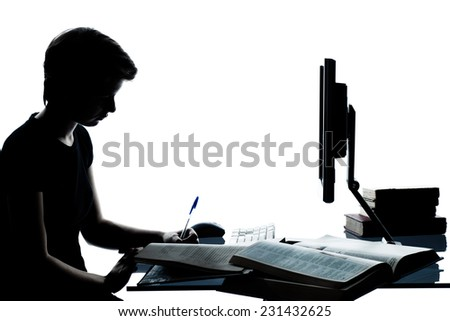 one  young teenager silhouette boy or girl studying with computer computing laptop in studio cut out isolated on white background - stock photo