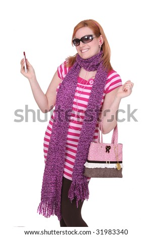 one young twenties adult woman in pink and purple fashionable funny dressing - stock photo