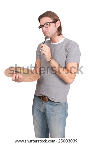 one young twenties artist man over white - stock photo