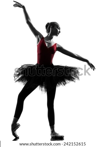 one  young woman ballerina ballet dancer dancing with tutu in silhouette studio on white background - stock photo