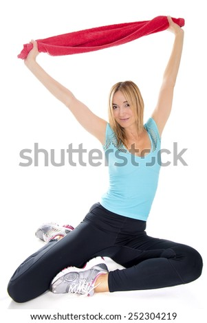 One young woman practicing sport. - stock photo