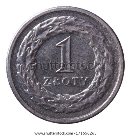 one zloty coin isolated on white background