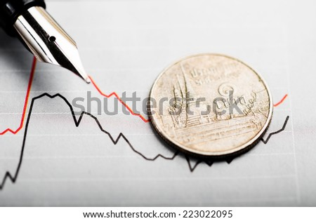 OneThai bath coin on fluctuating graph. Rate of the Thai bath (shallow DOF)  - stock photo
