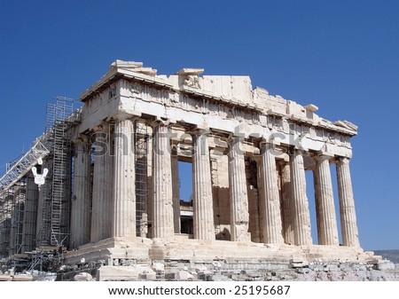 Ongoing restoration work of the Parthenon, Acropolis, Athens. - stock photo