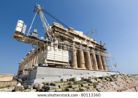 Ongoing restoration works on the Acropolis and the Parthenon  in Athens
