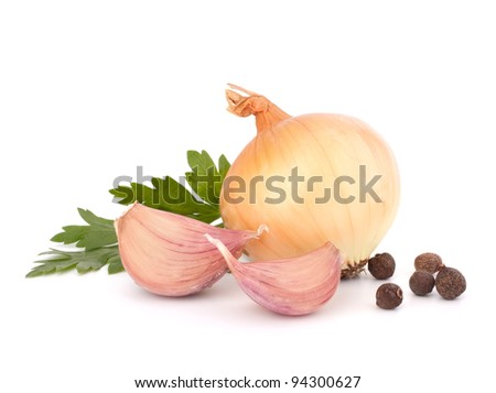 Onion and garlic clove isolated on white background