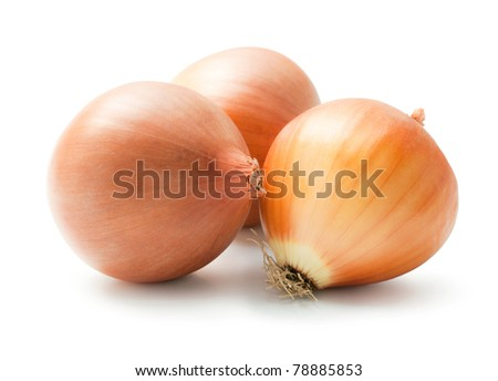Onion. Arrangement of three ripe fresh onions isolated on white background