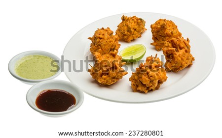 Onion bhajee - fried chickpea flour with onion and spices - stock photo