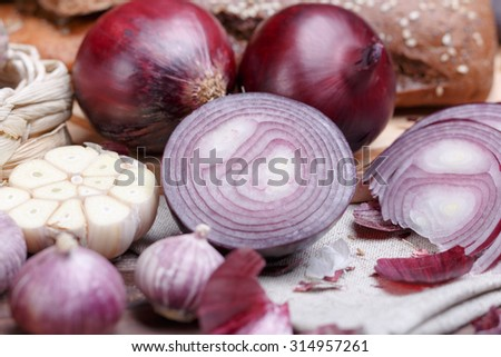 onion, bread and garlic - stock photo