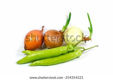 Onion, Chili Pepper - stock photo