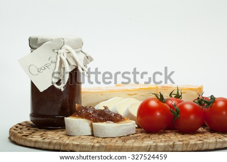 Onion jam with cheese - detail - stock photo
