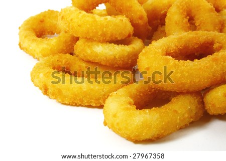 Onion Rings Breaded and Deep Fried Until Crispy