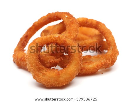 Onion rings isolated on a white background - stock photo