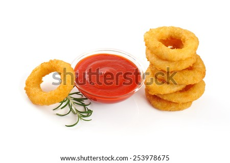 Onion rings, ketchup isolated on white background - stock photo