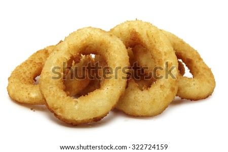 Onion rings studio shooting isolated with shadow on white background. Pen clipping path included