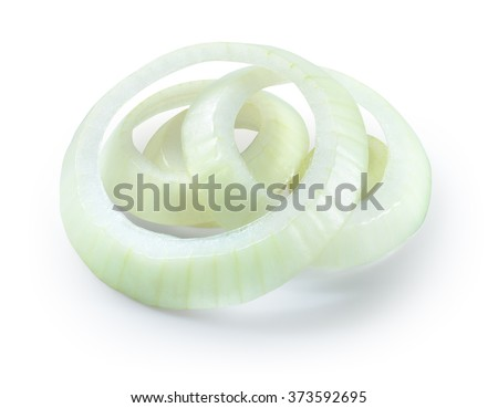 Onion slices isolated on white background. With clipping path.