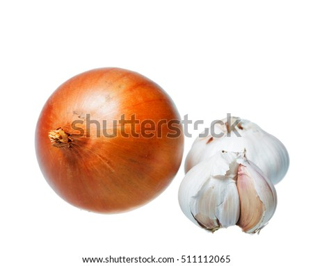 Onions and garlic are isolated on a white background.