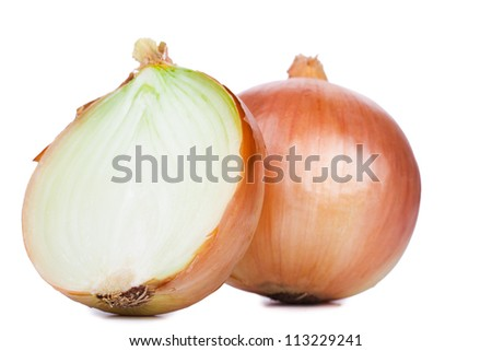 Onions cut in half isolated on a white background. - stock photo